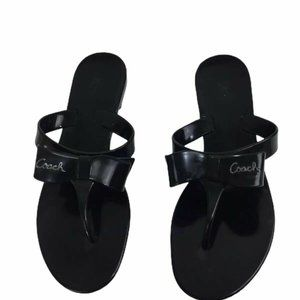 Coach Pretty Sandals Bow Jelly Flip Flop Logo Shoe
